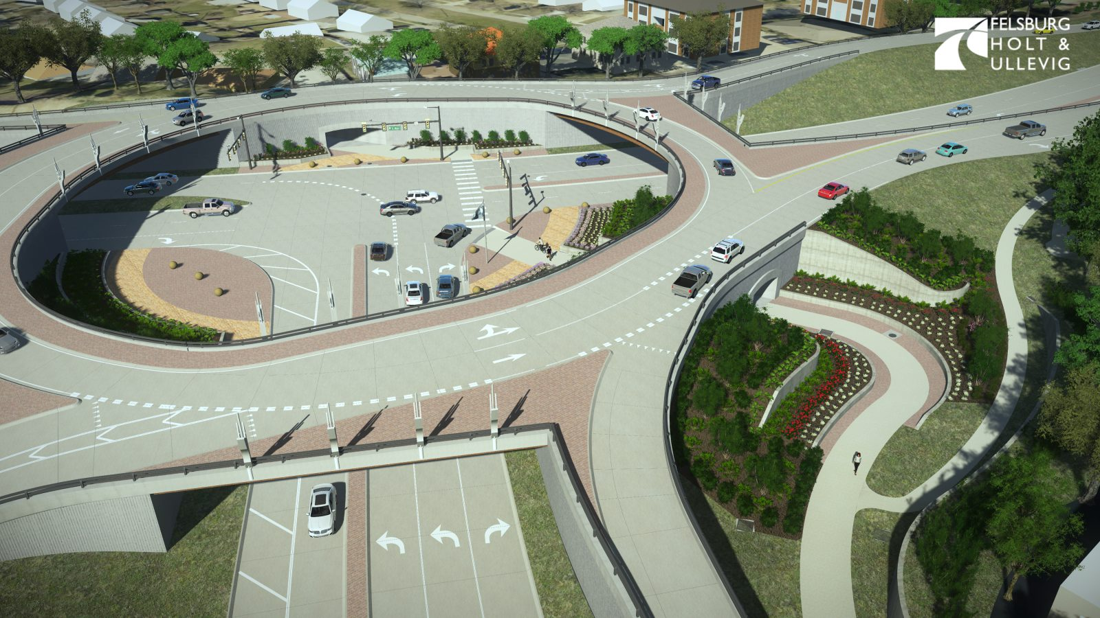 Westerly view of Roundabout mock design